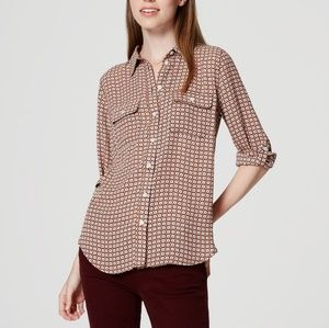 LOFT utility blouse minibloom print petite large